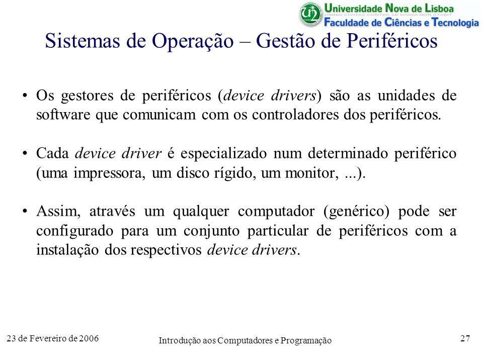 Sistemas de Operação – Gestão de Periféricos