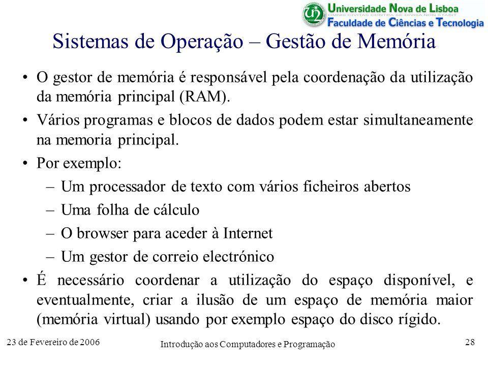 Sistemas de Operação – Gestão de Memória