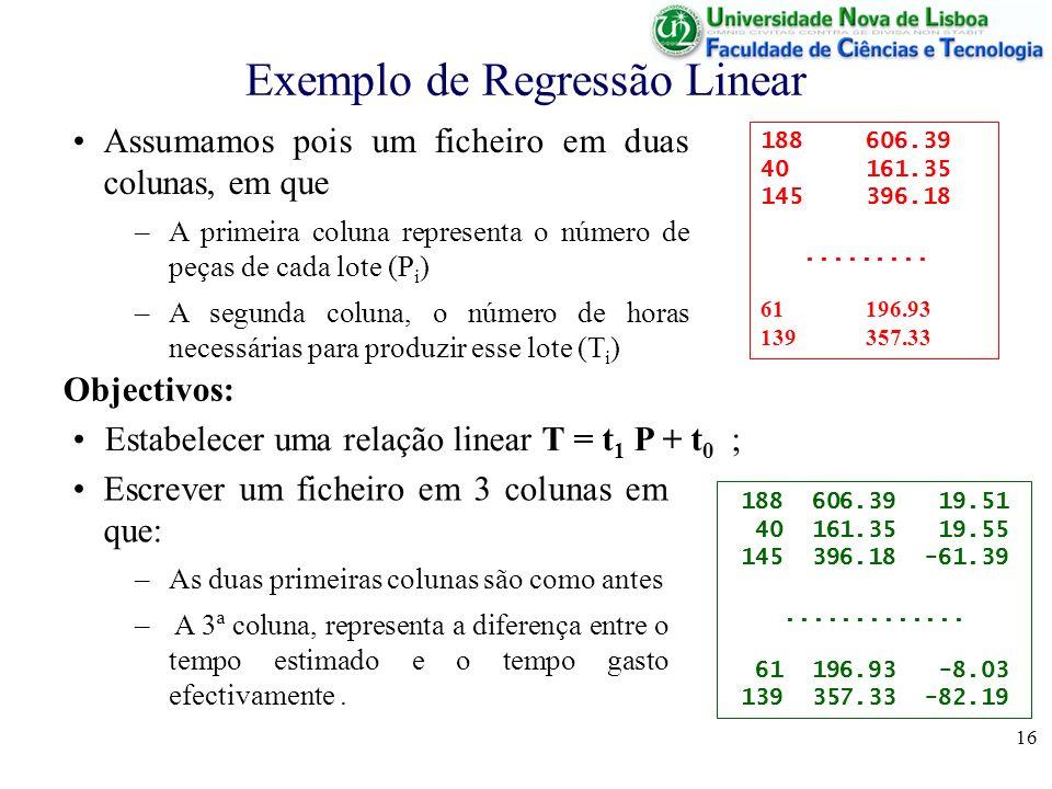 Exemplo de Regressão Linear