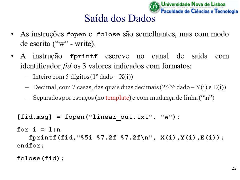 Saída dos Dados As instruções fopen e fclose são semelhantes, mas com modo de escrita ( w - write).