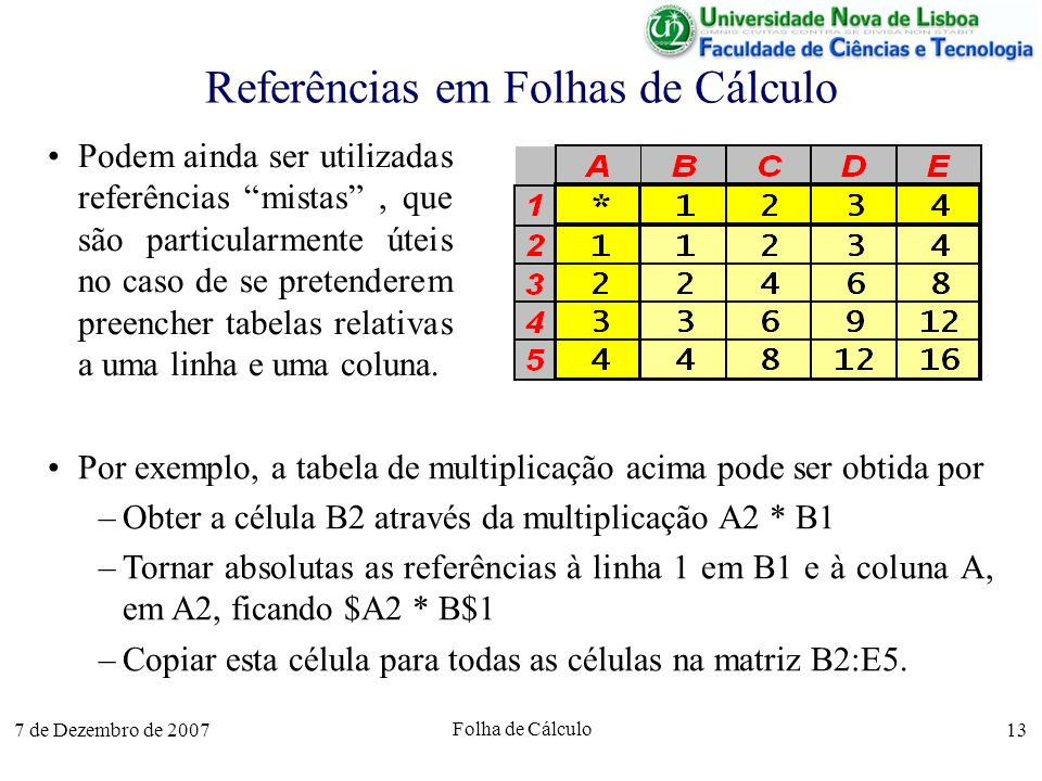 Referências em Folhas de Cálculo