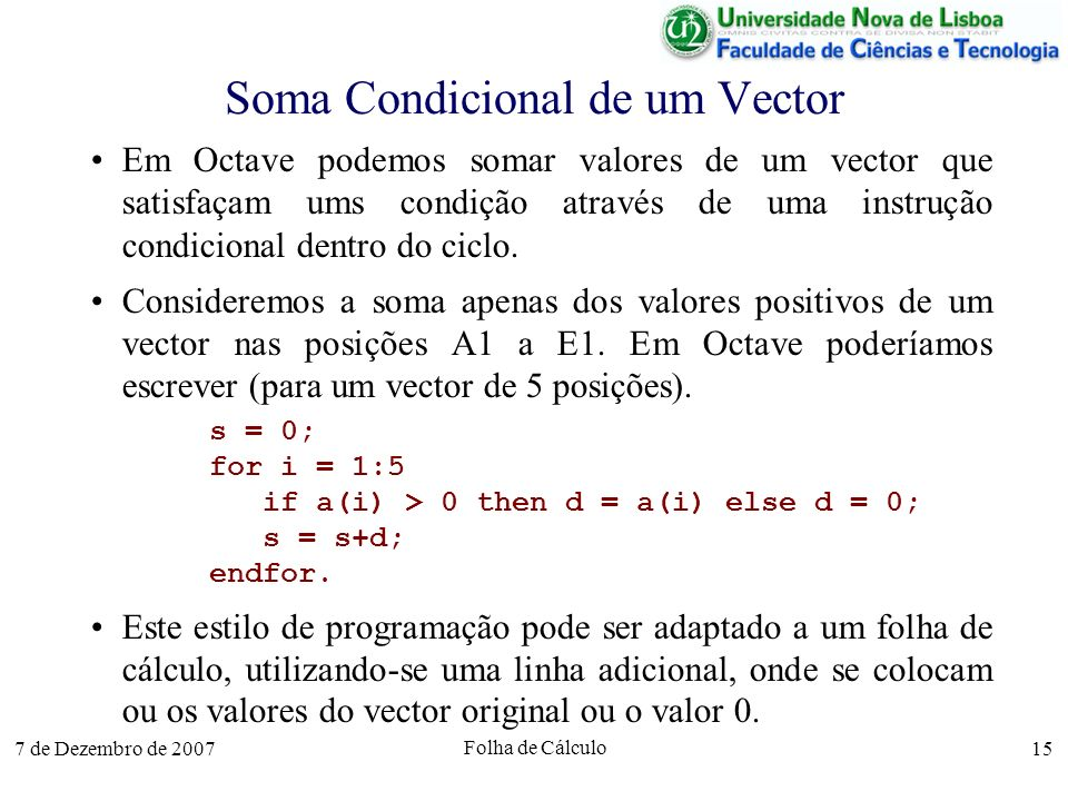 Soma Condicional de um Vector
