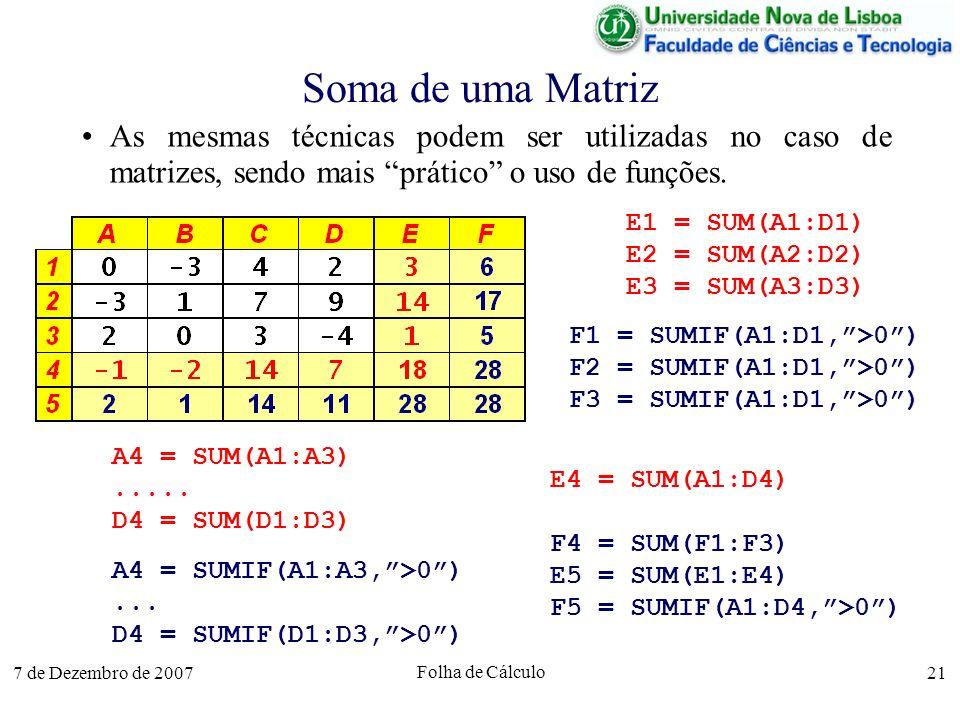 Soma de uma Matriz As mesmas técnicas podem ser utilizadas no caso de matrizes, sendo mais prático o uso de funções.