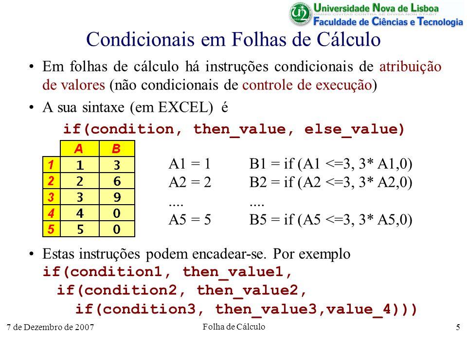 Condicionais em Folhas de Cálculo