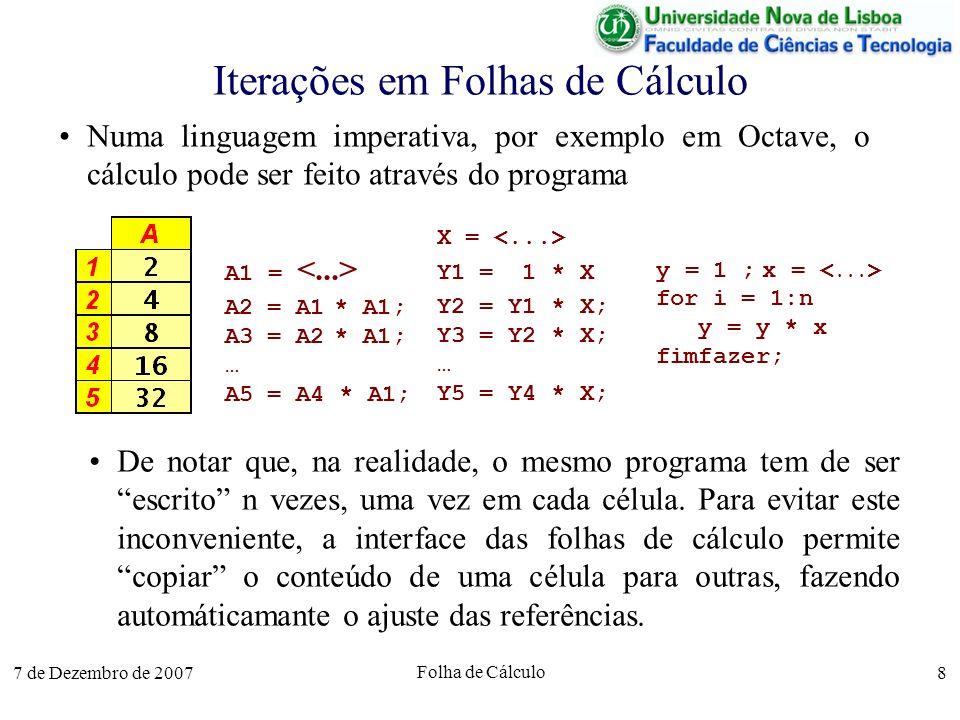 Iterações em Folhas de Cálculo