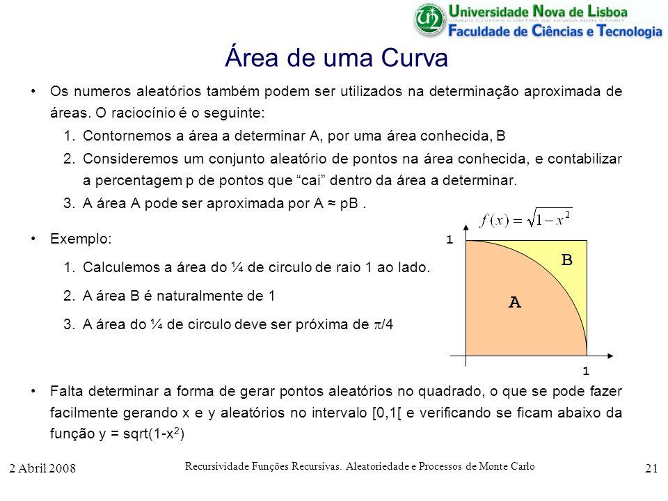 Área de uma Curva Os numeros aleatórios também podem ser utilizados na determinação aproximada de áreas. O raciocínio é o seguinte: