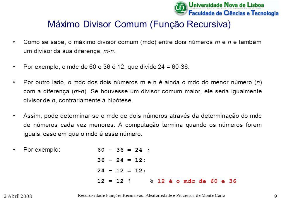 Máximo Divisor Comum (Função Recursiva)