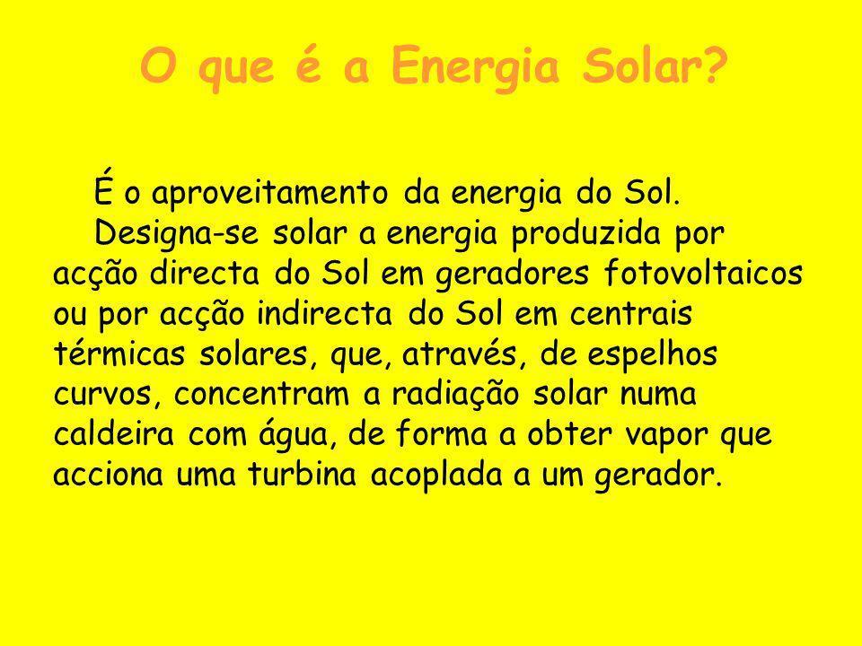 O que é a Energia Solar É o aproveitamento da energia do Sol.