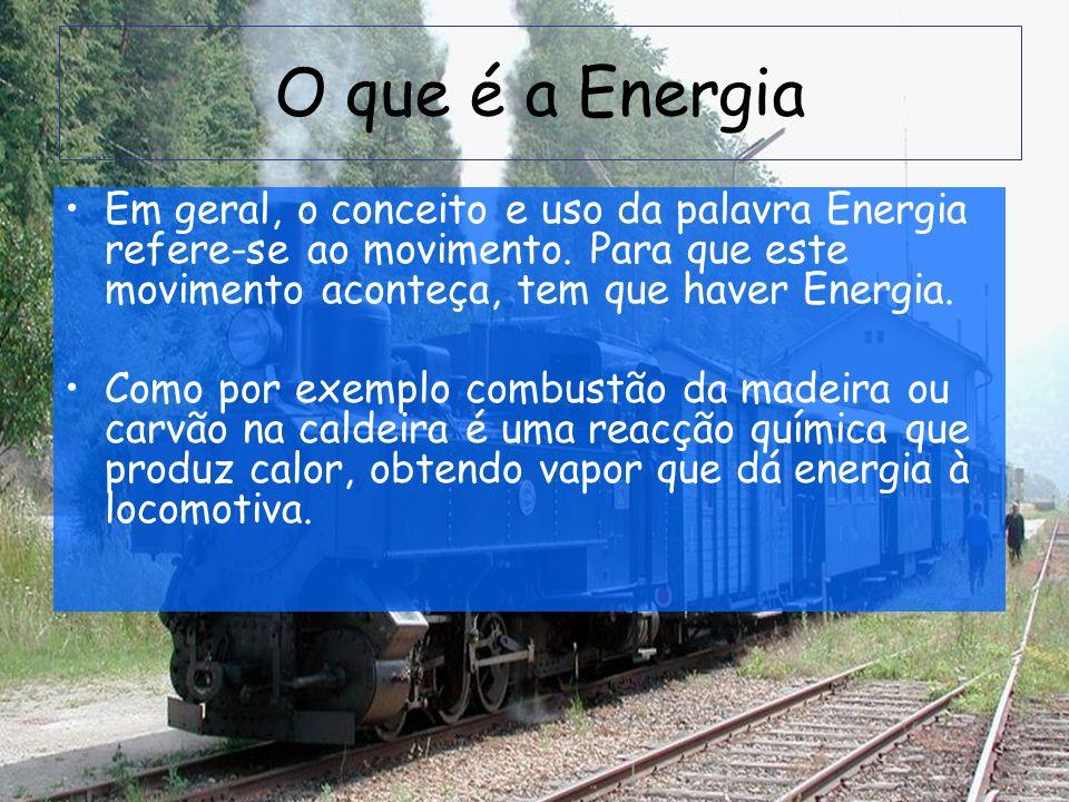 O que é a Energia Em geral, o conceito e uso da palavra Energia refere-se ao movimento. Para que este movimento aconteça, tem que haver Energia.