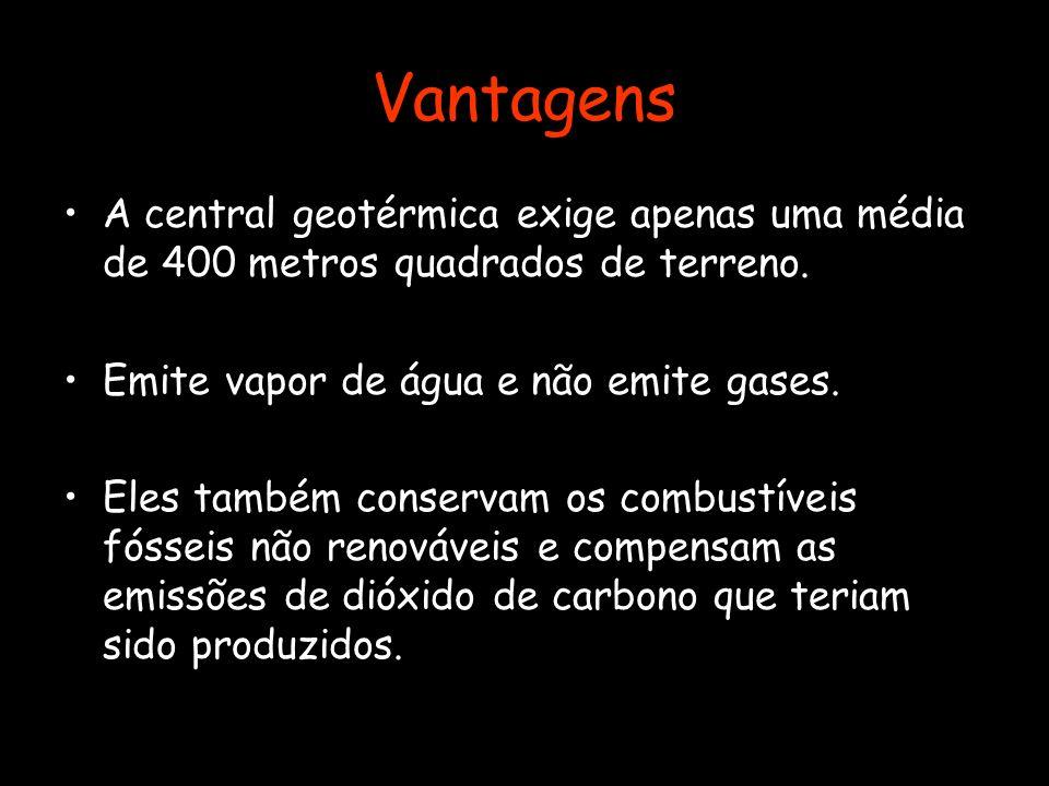 Vantagens A central geotérmica exige apenas uma média de 400 metros quadrados de terreno. Emite vapor de água e não emite gases.