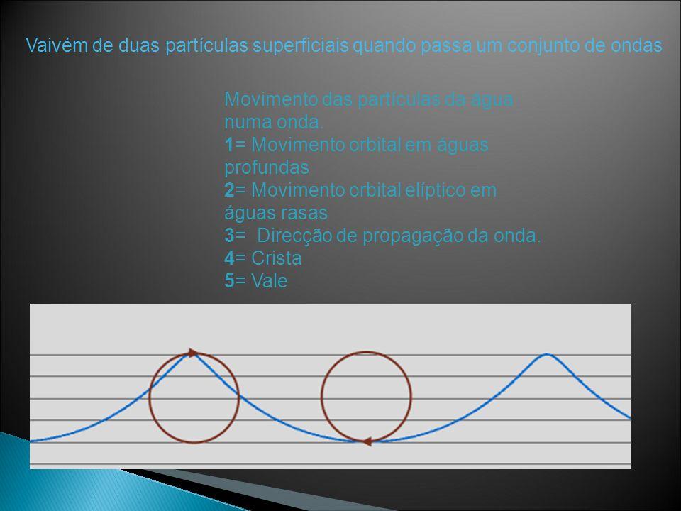 Vaivém de duas partículas superficiais quando passa um conjunto de ondas