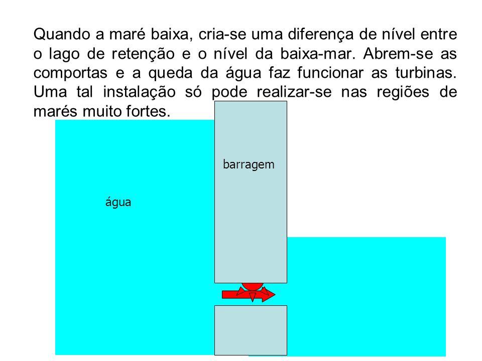 Quando a maré baixa, cria-se uma diferença de nível entre o lago de retenção e o nível da baixa-mar. Abrem-se as comportas e a queda da água faz funcionar as turbinas. Uma tal instalação só pode realizar-se nas regiões de marés muito fortes.
