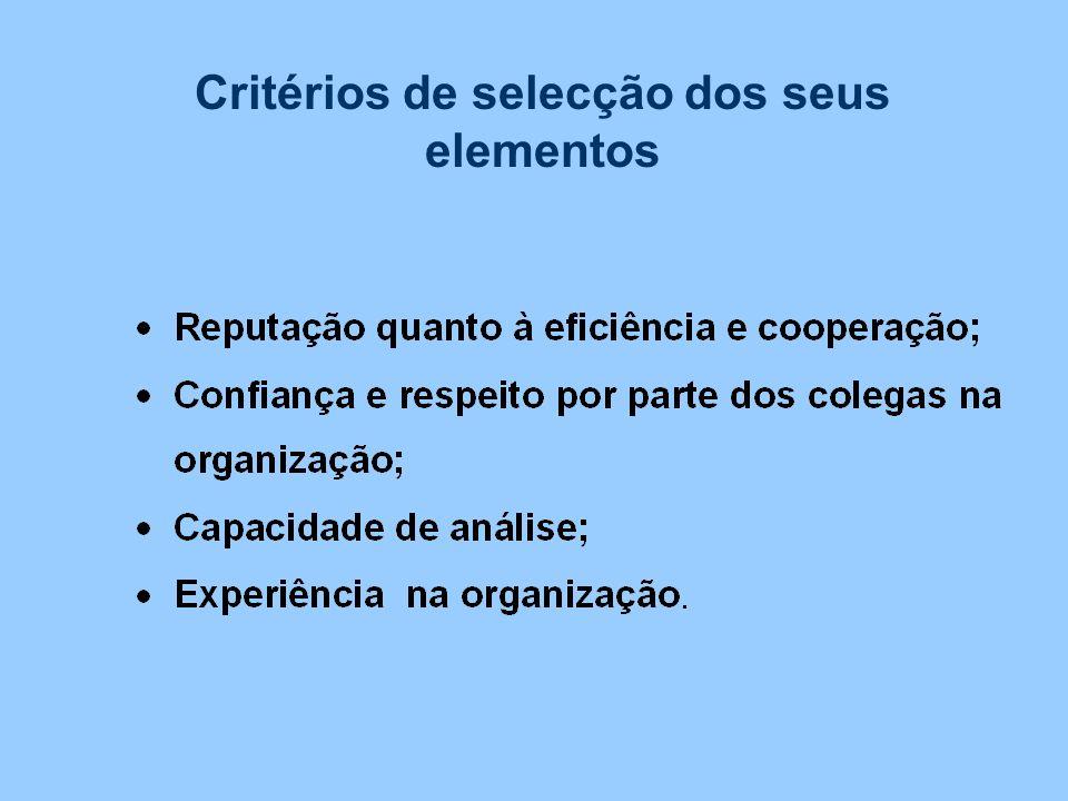 Critérios de selecção dos seus elementos