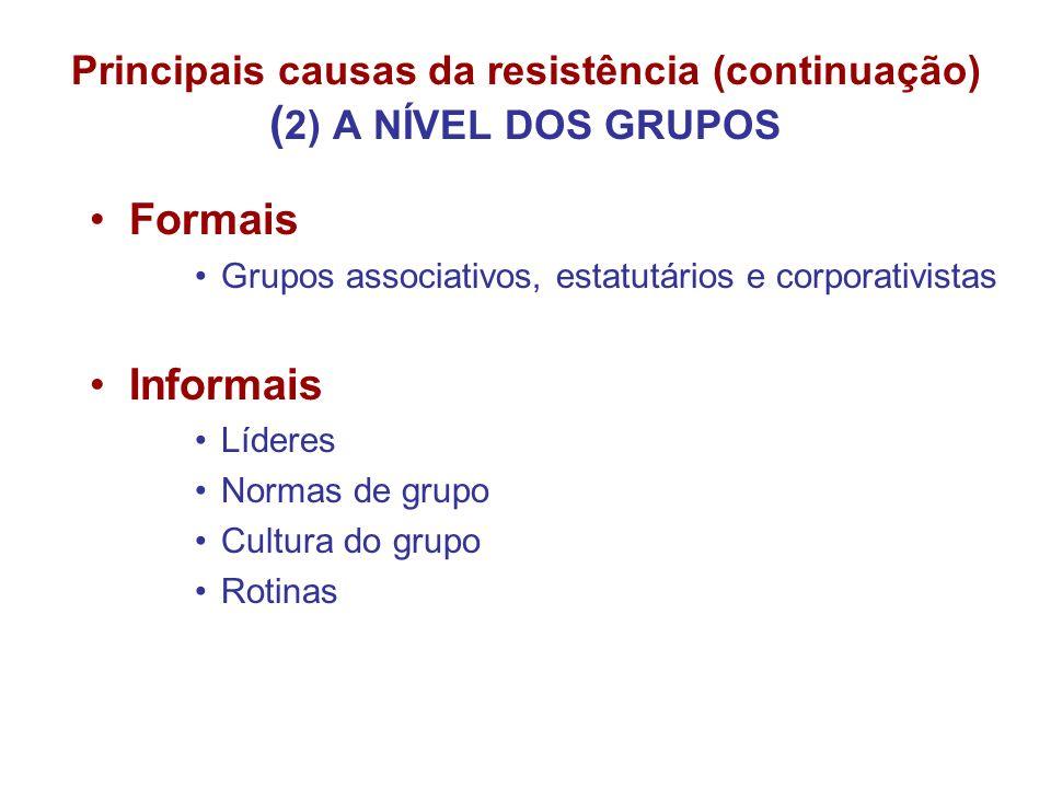 Principais causas da resistência (continuação) (2) A NÍVEL DOS GRUPOS
