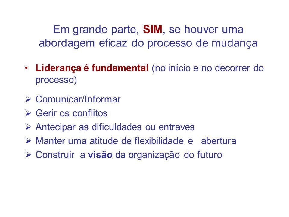 Em grande parte, SIM, se houver uma abordagem eficaz do processo de mudança