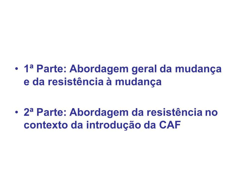 1ª Parte: Abordagem geral da mudança e da resistência à mudança