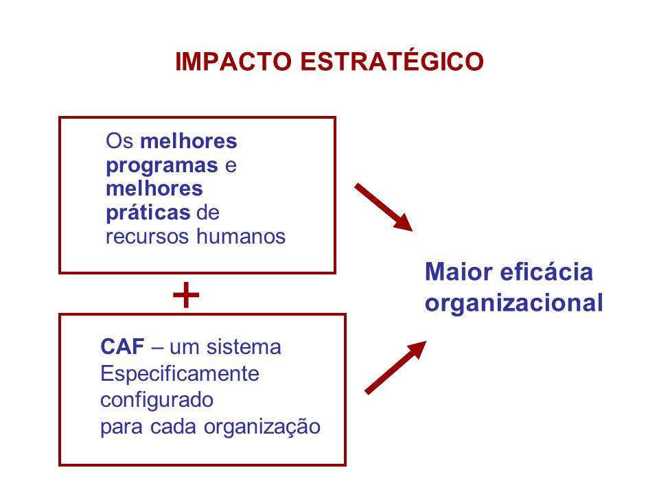 + IMPACTO ESTRATÉGICO Maior eficácia organizacional CAF – um sistema