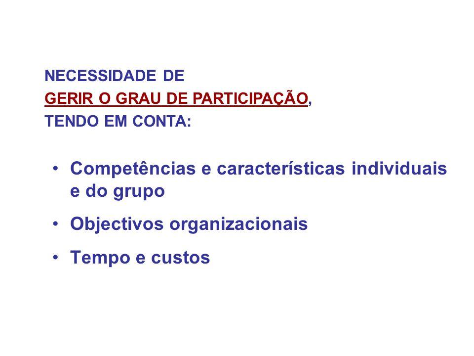 Competências e características individuais e do grupo