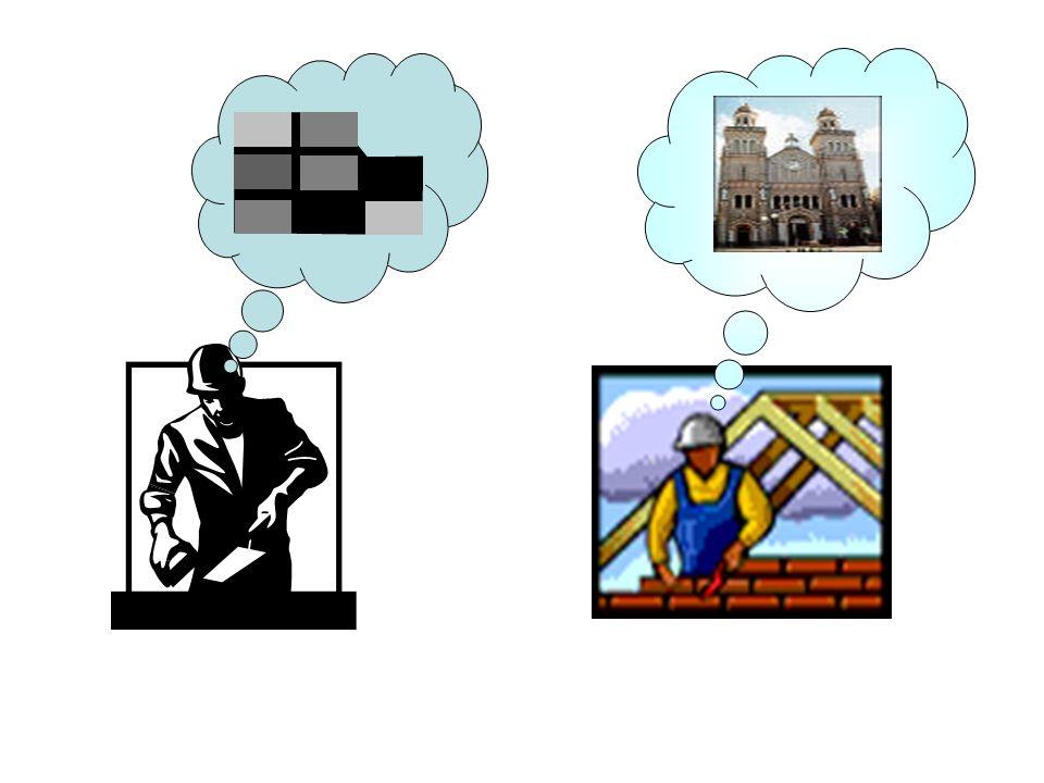 Aqui vemos dois pedreiros a fazer exactamente a mesma coisa: a montar tijolo, para construção de uma catedral.