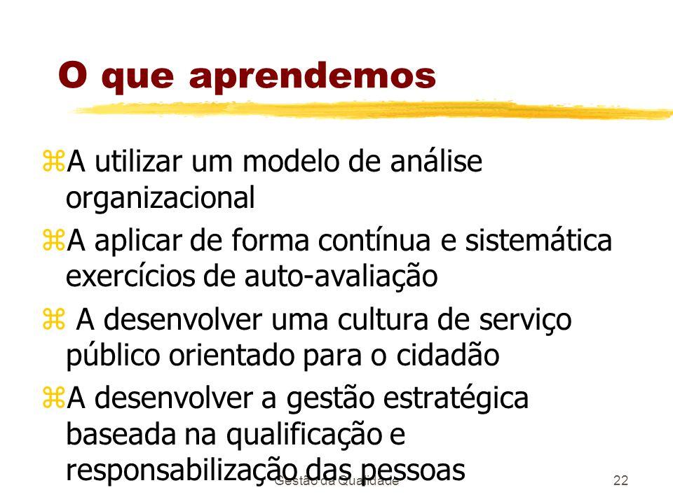 O que aprendemos A utilizar um modelo de análise organizacional