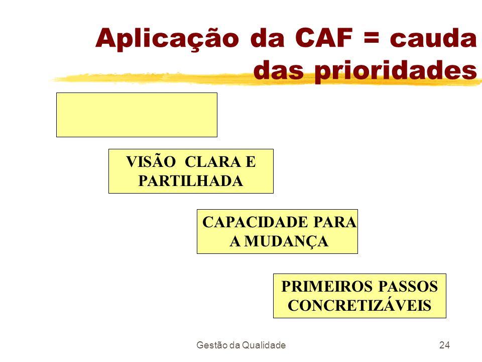Aplicação da CAF = cauda das prioridades