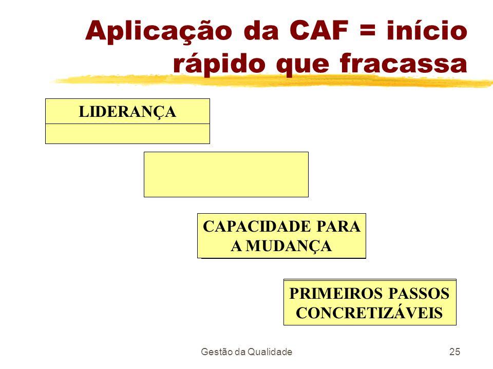 Aplicação da CAF = início rápido que fracassa