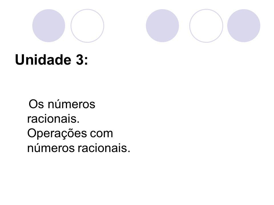 Unidade 3: Os números racionais. Operações com números racionais.