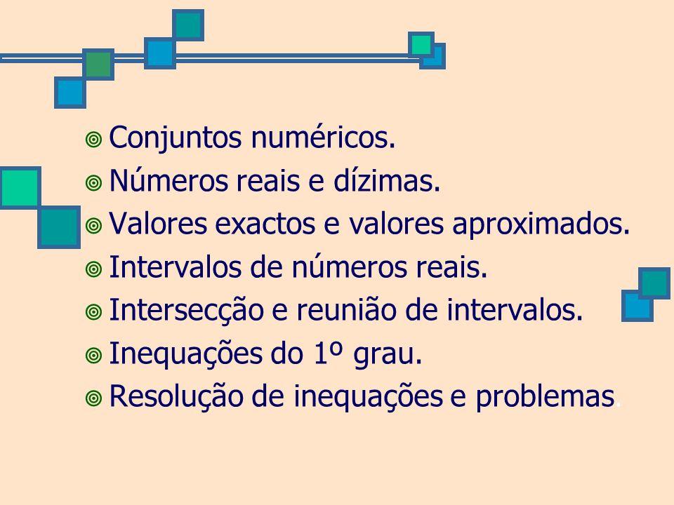 Conjuntos numéricos. Números reais e dízimas. Valores exactos e valores aproximados. Intervalos de números reais.