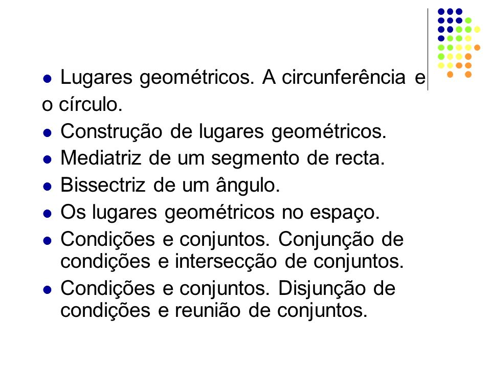 Lugares geométricos. A circunferência e