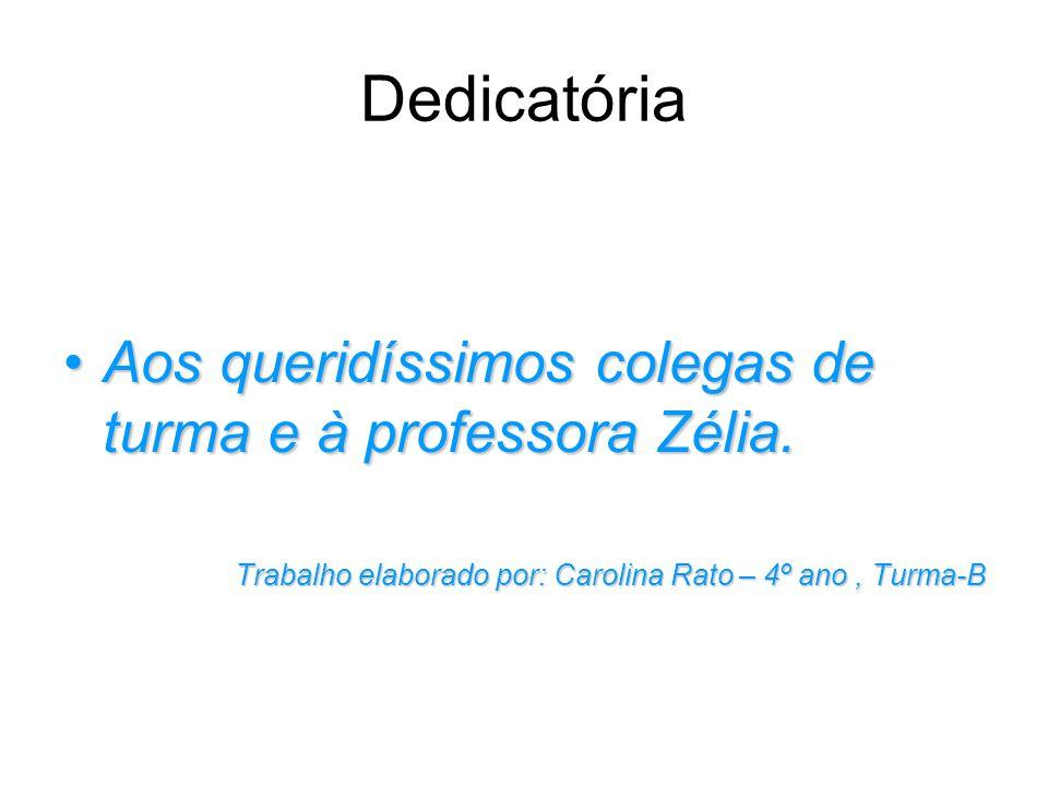 Dedicatória Aos queridíssimos colegas de turma e à professora Zélia.
