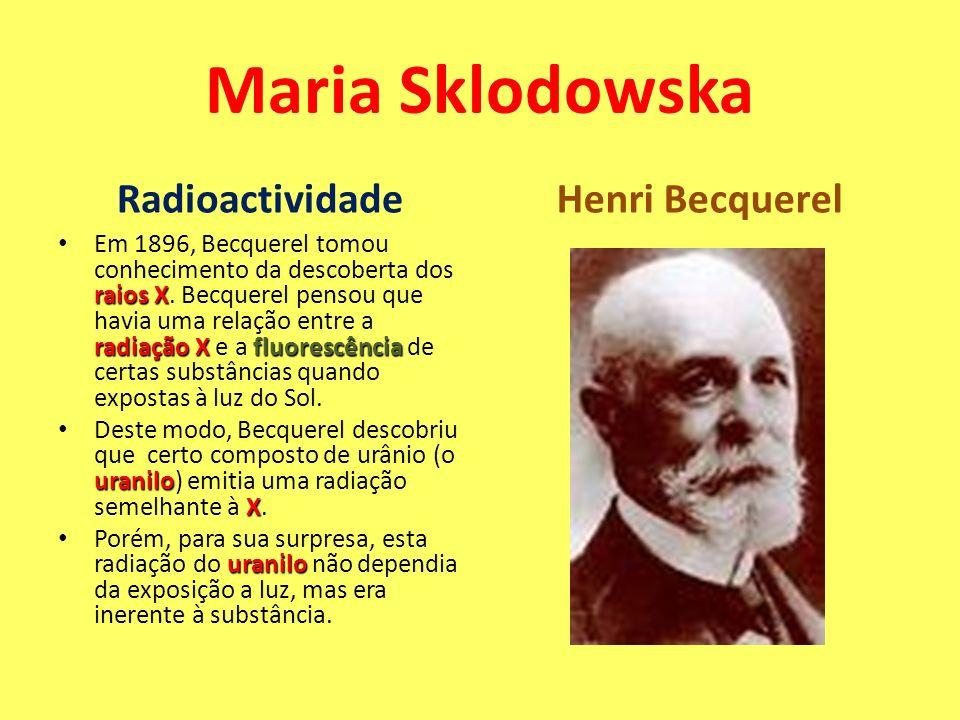 Maria Sklodowska Radioactividade Henri Becquerel