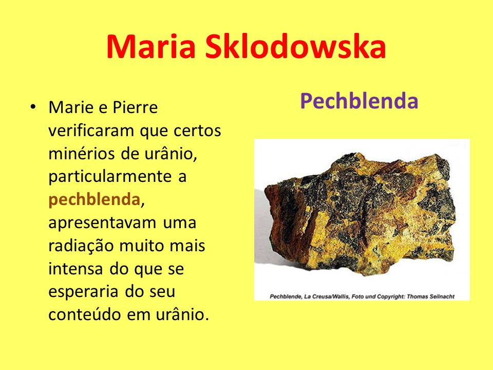Maria Sklodowska Pechblenda