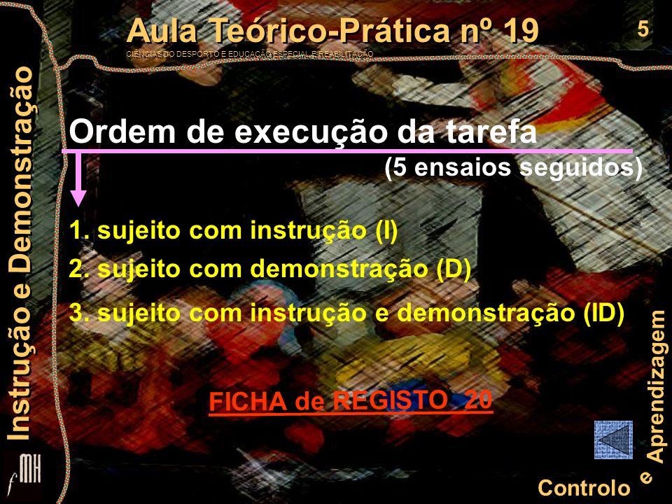Ordem de execução da tarefa
