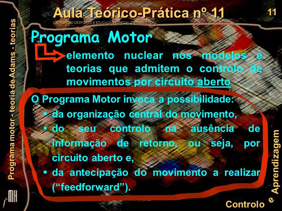 Programa Motor elemento nuclear nos modelos e teorias que admitem o controlo de movimentos por circuito aberto.