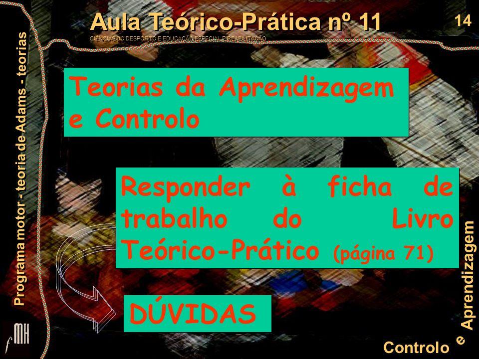 Teorias da Aprendizagem e Controlo