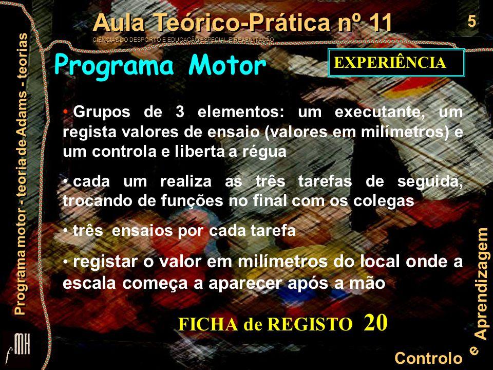 Programa Motor FICHA de REGISTO 20 EXPERIÊNCIA