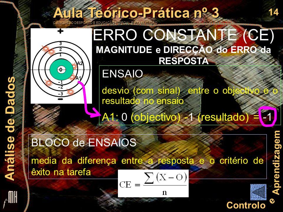 ERRO CONSTANTE (CE) MAGNITUDE e DIRECÇÃO do ERRO da RESPOSTA