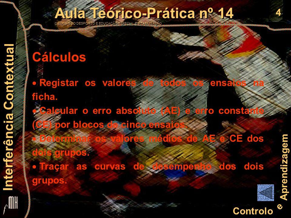 Cálculos Registar os valores de todos os ensaios na ficha.