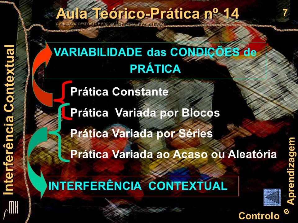 VARIABILIDADE das CONDIÇÕES de PRÁTICA