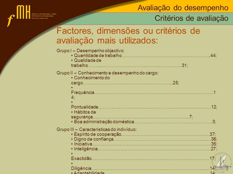 Factores, dimensões ou critérios de avaliação mais utilizados: