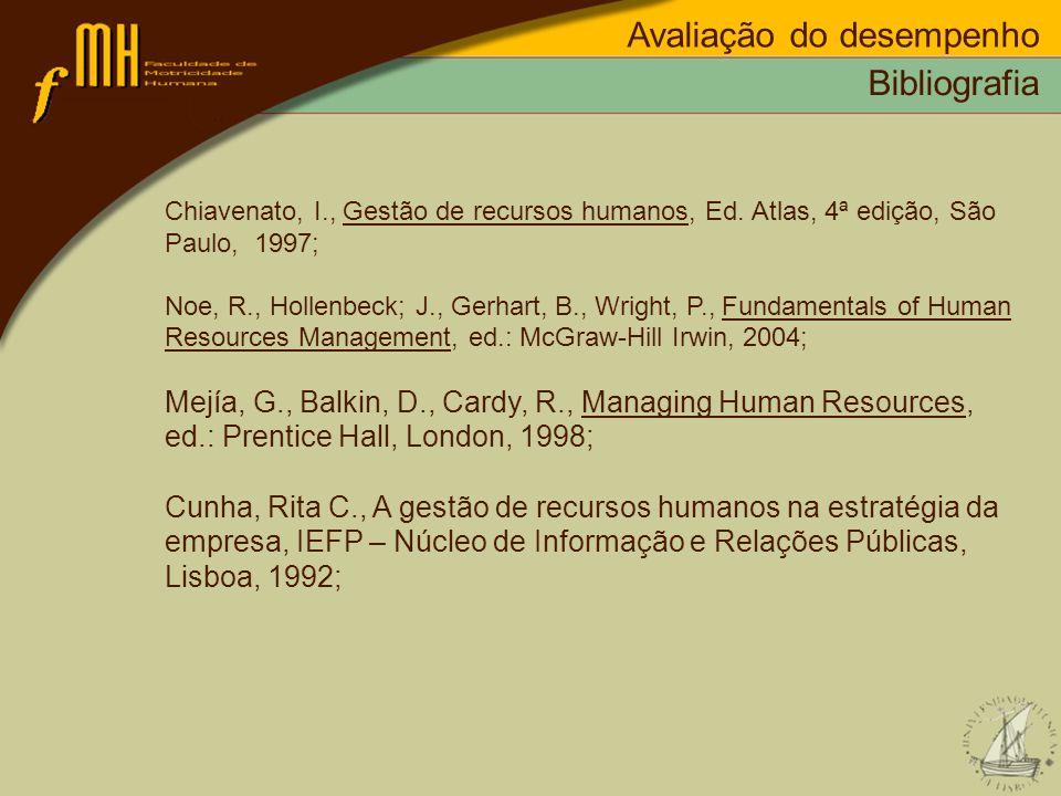 Avaliação do desempenho Bibliografia