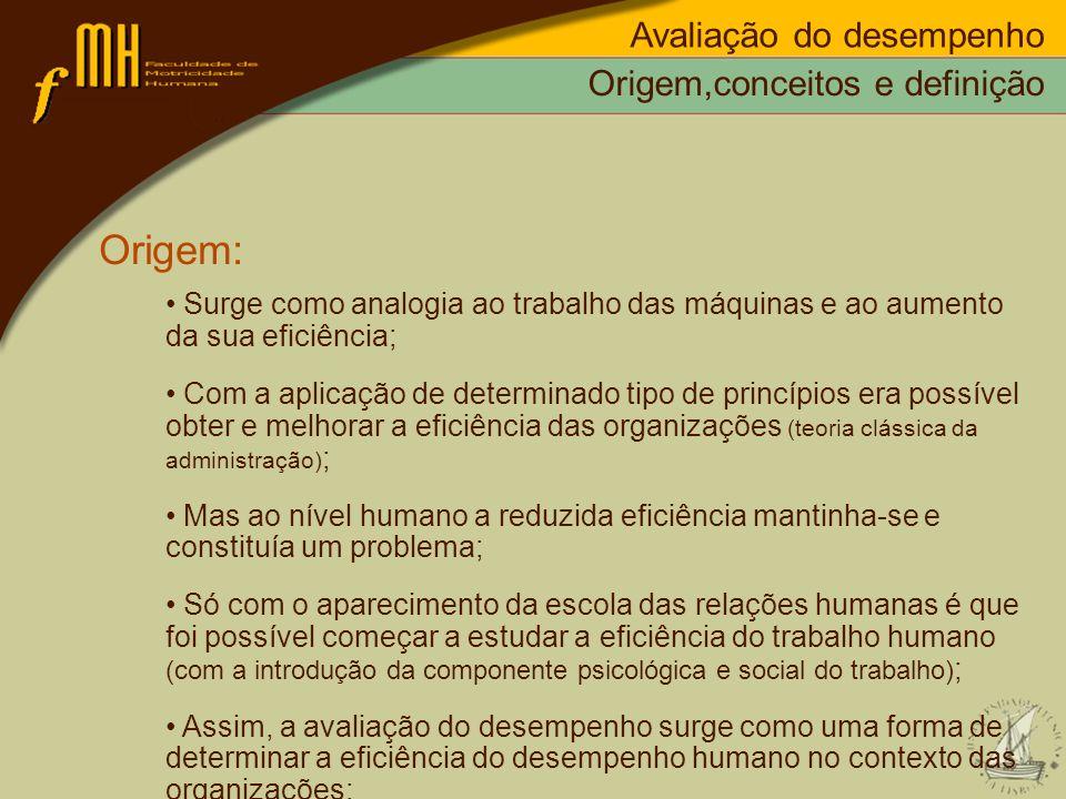 Origem: Avaliação do desempenho Origem,conceitos e definição