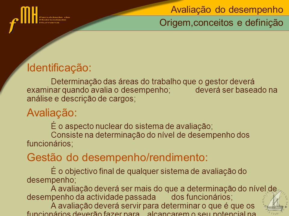 Gestão do desempenho/rendimento: