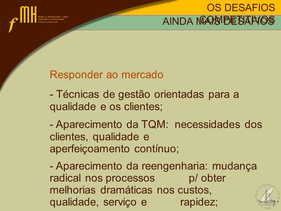 - Técnicas de gestão orientadas para a qualidade e os clientes;