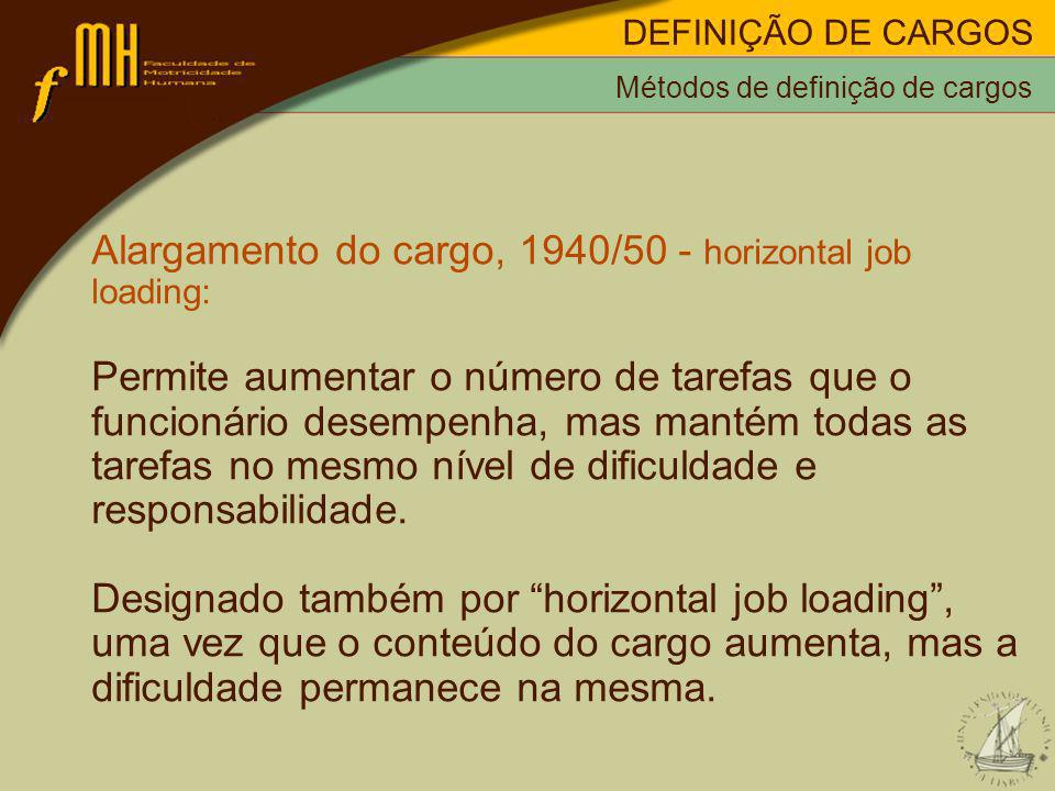 Alargamento do cargo, 1940/50 - horizontal job loading: