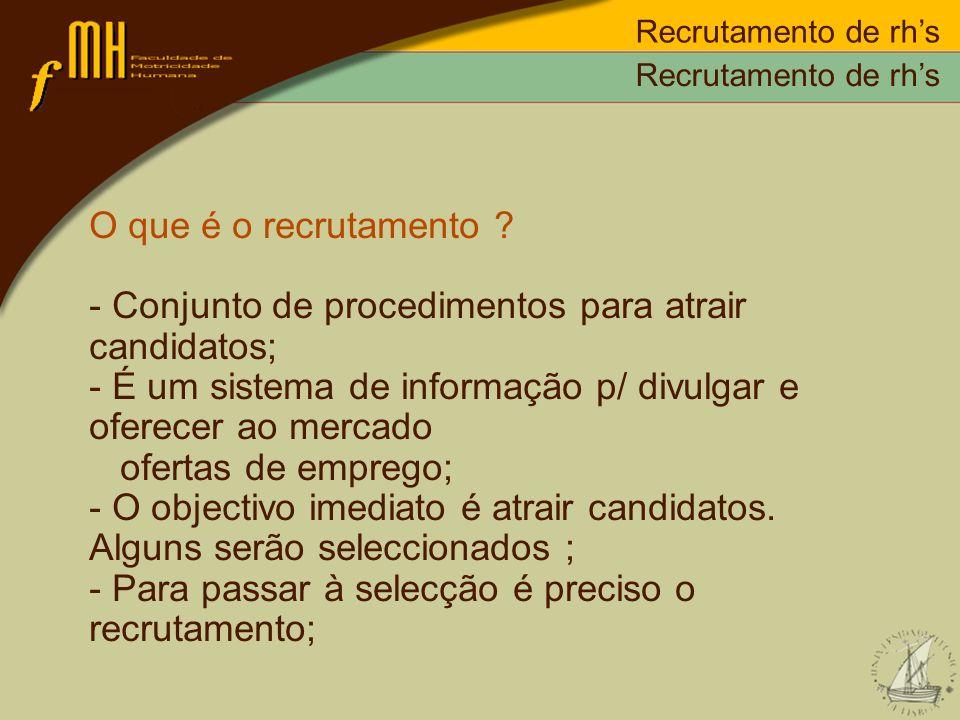 - Conjunto de procedimentos para atrair candidatos;
