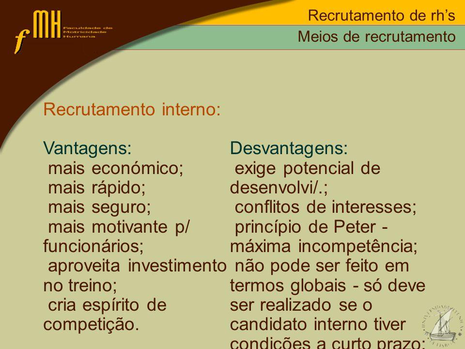 Recrutamento interno: Vantagens: mais económico; mais rápido;