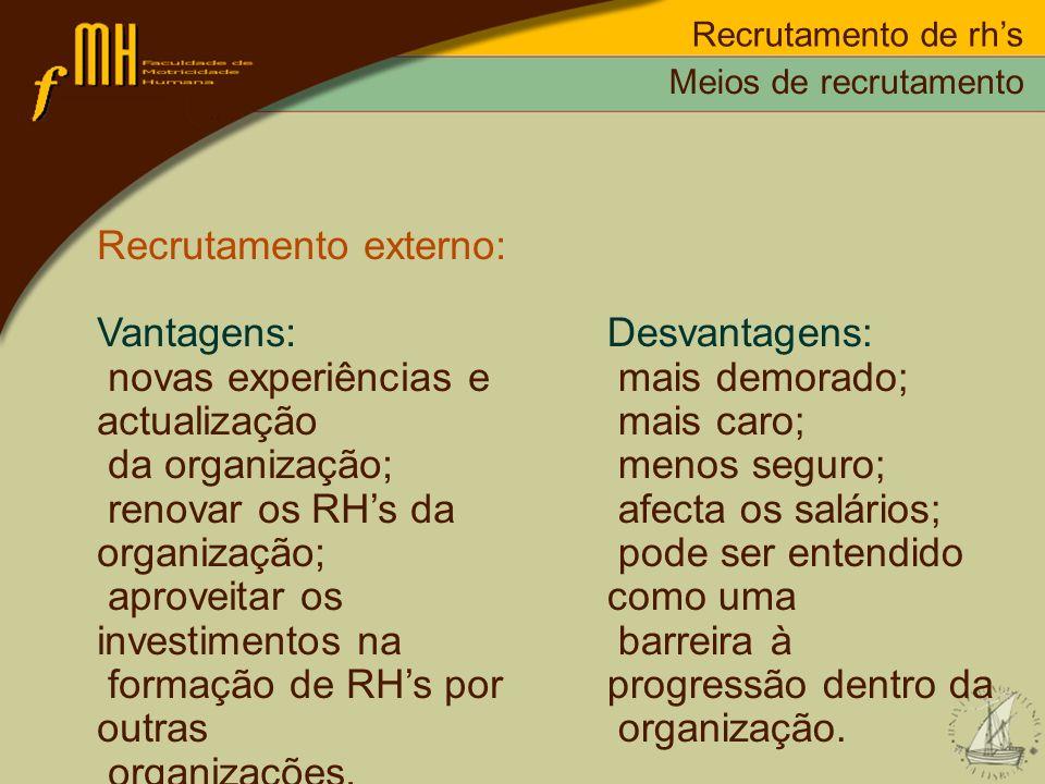 Recrutamento externo: Vantagens: novas experiências e actualização