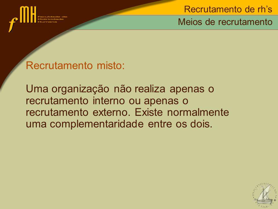 Recrutamento de rh's Meios de recrutamento. Recrutamento misto: