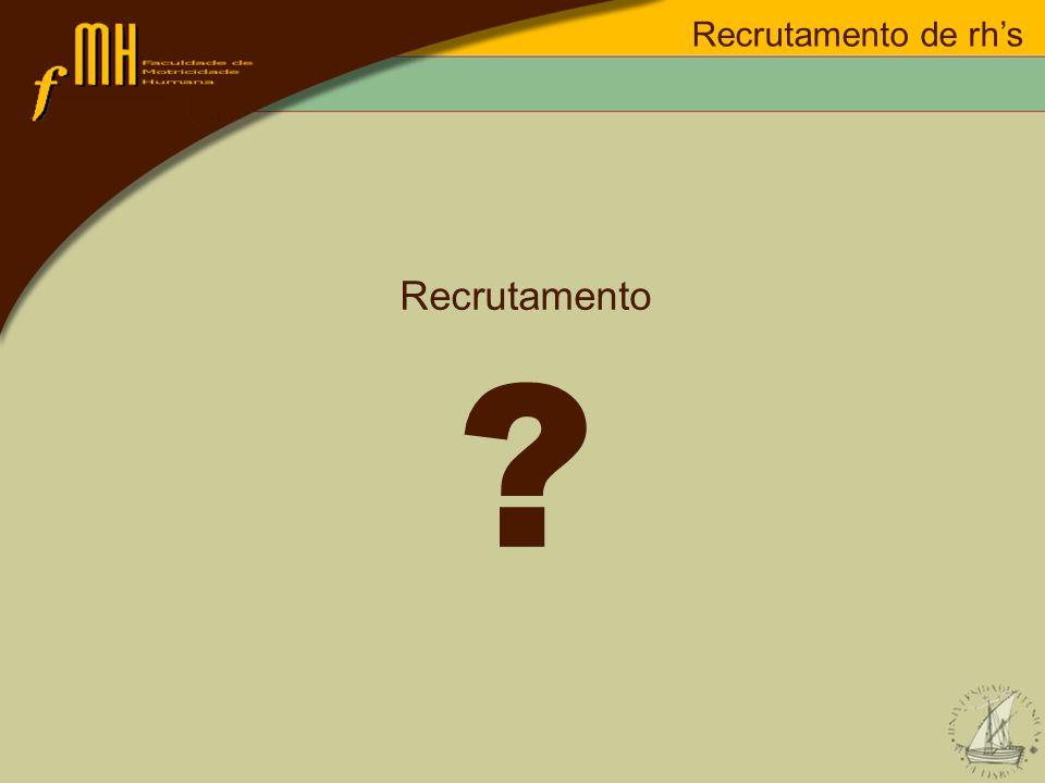 Recrutamento de rh's Recrutamento